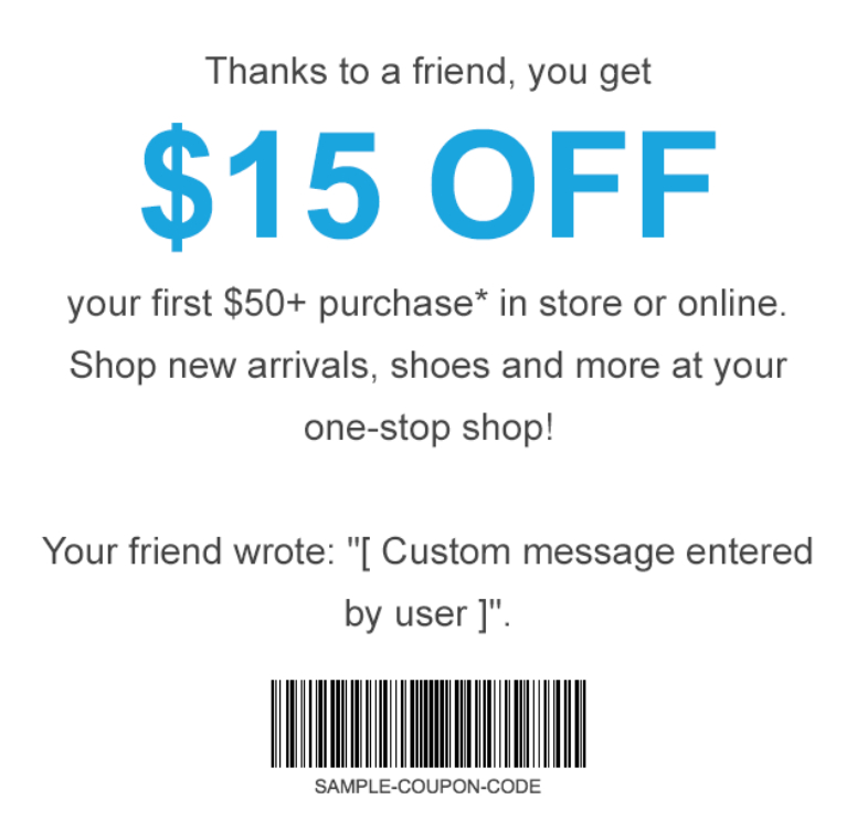 apparel coupon referral program talkable